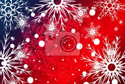 Weihnachten Hintergrund.Fototapete Blaue Rote Weihnachten Hintergrund Mit Schneeflocken Weihnachten
