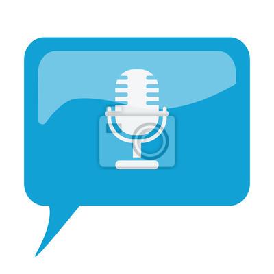 Blaue sprechblase mit weißen mikrofon-symbol auf weißem backgroun ...