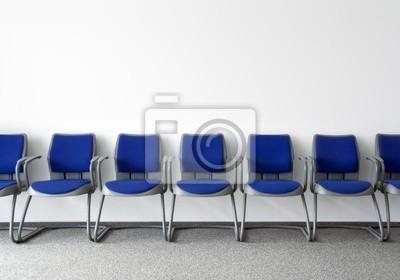 Blaue Stühle In Gewöhnlichen Leeren Wartezimmer Fototapete