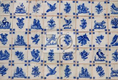 Blaue Vintage Portugiesische Fliesen Azulejos Mit Tierzeichnungen