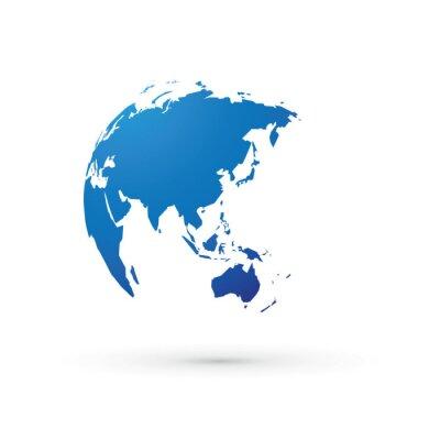 Fototapete Blaue Welt Erde Globus Asien Japan