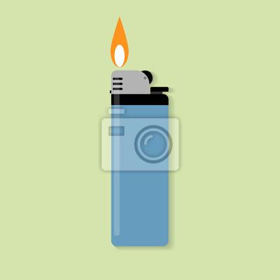Fototapete Blauer Gasfeuerzeug mit Feuer