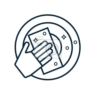 Blauer handschuh, schwamm und teller. geschirrspüllinie symbol ...