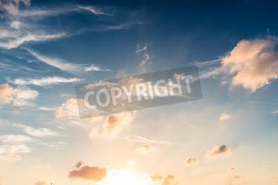 Fototapete Blauer Himmel im Sonnenuntergang