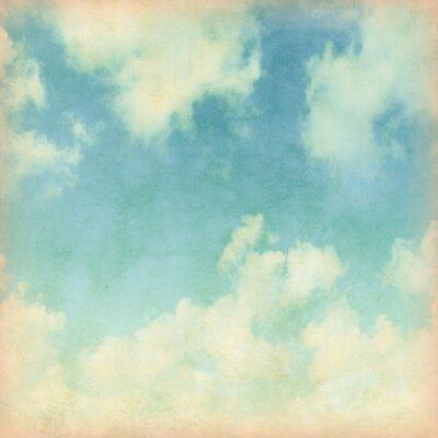 Fototapete Blauer Himmel mit Wolken im Grunge-Stil.