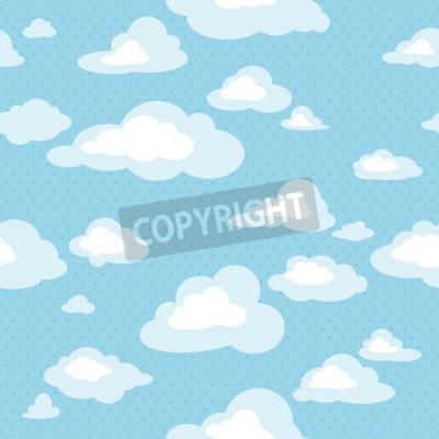 Fototapete Blauer Himmel mit Wolken, Vektor nahtlose Muster