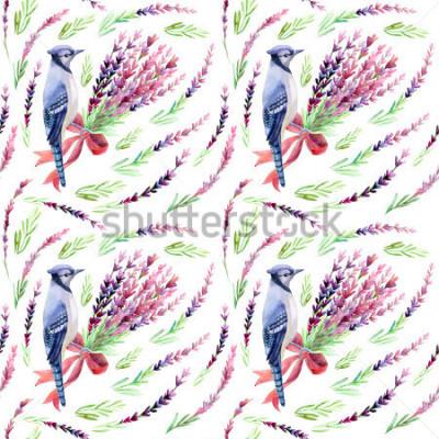 Fototapete Blauer Jay mit nahtlosem Muster des Lavendels auf einem weißen Hintergrund. Handgemalte Aquarellillustration.