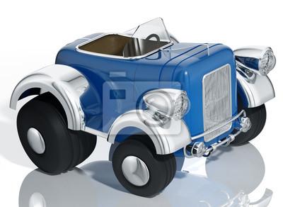 Fototapete Blaues Auto hot rod isoliert, 3D-Illustration.