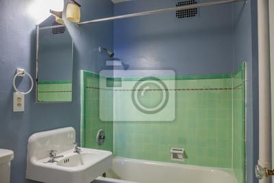Fototapete: Blaues und grünes vintage badezimmer