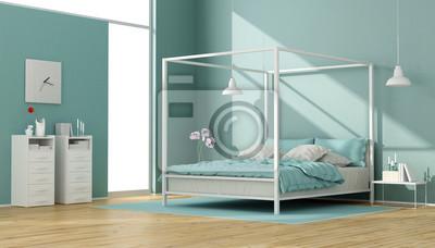 Blaues und weißes schlafzimmer mit himmelbett fototapete ...