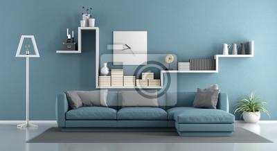 Blaues wohnzimmer fototapete fototapeten appartment abfedern schelf - Blaues wohnzimmer ...