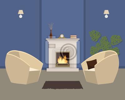 Blaues wohnzimmer mit kamin und weißen sesseln. der raum hat ...