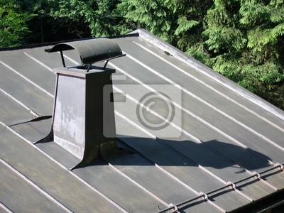 blechdach mit kamin fototapete fototapeten blech feuerstelle schornstein. Black Bedroom Furniture Sets. Home Design Ideas