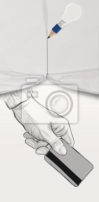 Fototapete Bleistift Glühbirne 3d Zugseil Offenen Zerknittertes Papier Zeigen