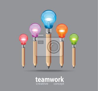 Fototapete Bleistift Und Glühbirne Design
