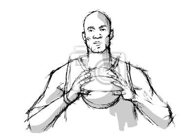 Bleistiftskizzen der Basketball