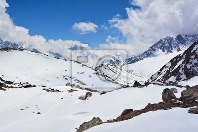 Himalaya Berge Karte.Fototapete Blick Auf Das Gokyo Tal Und Himalaya Berge Mit Schnee Bedeckt