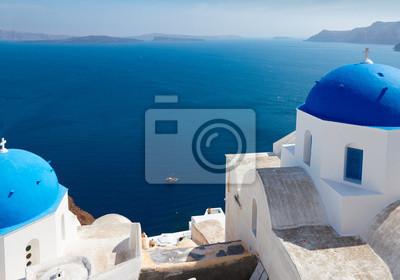 Fototapete Blick auf die Caldera mit blauen Kuppeln, Santorini
