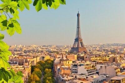 Fototapete Blick auf Eiffelturm bei Sonnenuntergang