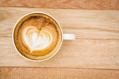 Fototapete Blick auf ein Herz aus Kaffee zusammen