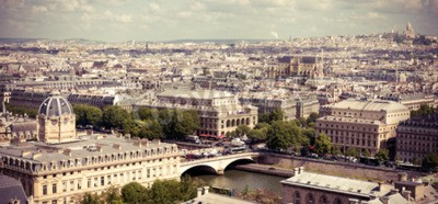 Fototapete Blick auf Paris Form Notre Dame Kathedrale. Instagram Art filtred Abbildung