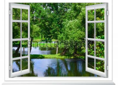 Fototapete Blick aus dem Fenster in den Gewässer und den Baum im Sommer