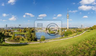 Fototapete: Blick über olympiapark mit turm in münchen, bayern, deutschland