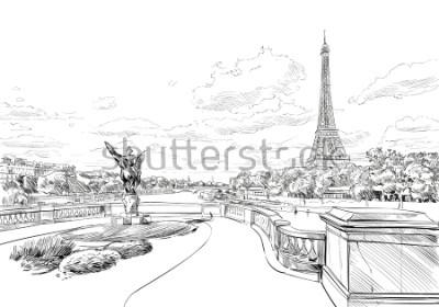 Fototapete Blick von der Brücke Le Pont de Bir-Hakeim auf den Eiffelturm. Paris, Frankreich. Städtische Skizze Handgezeichnete Vektor-Illustration