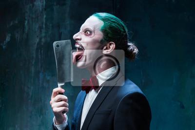 Halloween Thema.Fototapete Bloody Halloween Thema Verruckt Joker Gesicht
