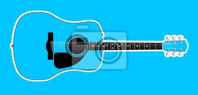 Blue Acoustic Guitar Over Blue Background