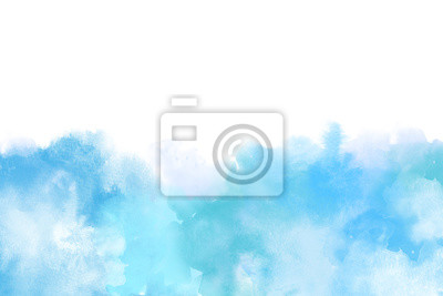 Fototapete Blue Artistic Watercolor Backround isolated on white