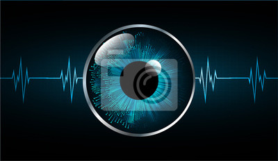 Fototapete Blue eye cyber circuit future technology concept background