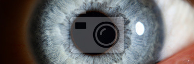 Fototapete Blue eye male human super macro closeup. Healthy vision test concept