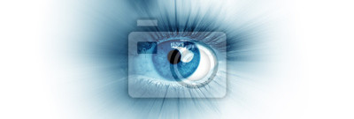 Fototapete Blue eye of a woman. Eye in motion. Wide banner with a white background.