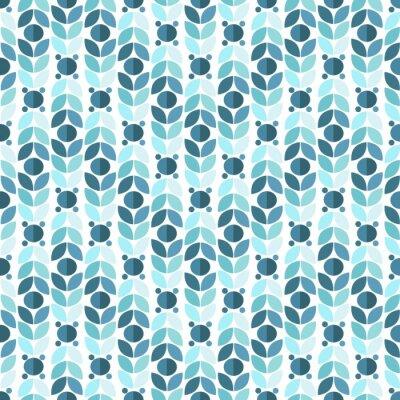 Fototapete Blue Geometric Retro Seamless Pattern