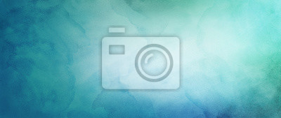 Fototapete blue green and white watercolor background with abstract cloudy sky concept with color splash design and fringe bleed stains and blobs