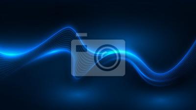 Fototapete Blue light wave of energy with elegant lines