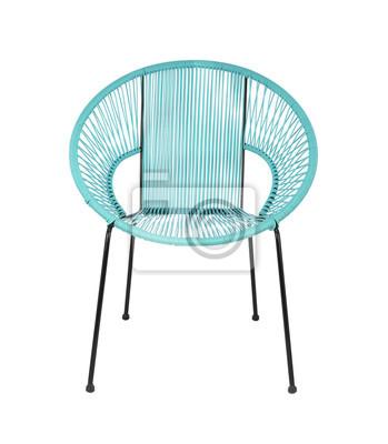 Blue Rattan Outdoor Stuhl Auf Weissem Hintergrund Vorderansicht