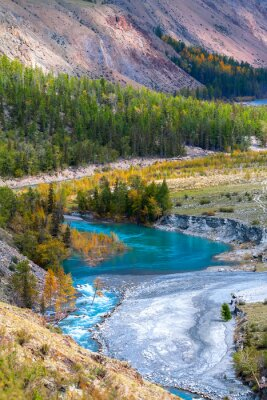 Fototapete blue river in mountains