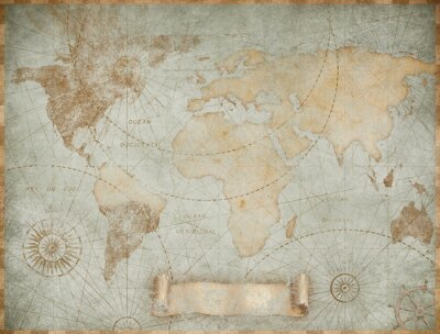 Fototapete Blue vintage world map illustration based on image furnished by NASA