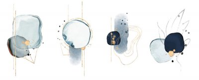 Fototapete blue watercolor Illustration and gold,  isolated on white background. Abstract modern  print. logo
