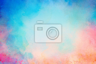 Fototapete blue watercolor paint background design with colorful orange pink borders and bright center, watercolor bleed and fringe with vibrant distressed grunge texture