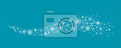 Fototapete blue winter background with hand drawn snowflakes silhouette