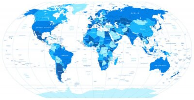 Blue world map - borders, countries and cities -illustration ...