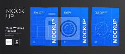 Fototapete Blue Wrinkled poster template set. Glued paper. Vector Realistic wet wrinkled posters mockup
