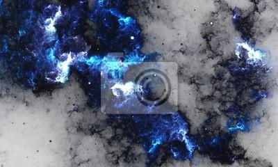 Fototapete BlueNebula - Digital abstrakte Malerei einer Galaxie mit Sternen im Raum