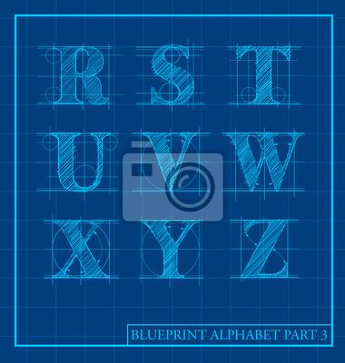 Blueprint Artbuchstaben Satz Alphabet