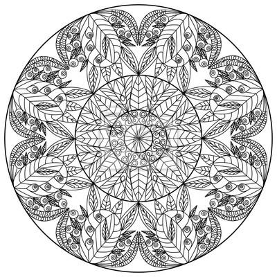 Fototapete Blühenden Garten Blumen Mandala Linie Floral Ornament Drucken