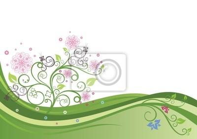 Blühender Baum in einem Feld Frühling Vektor-Illustration