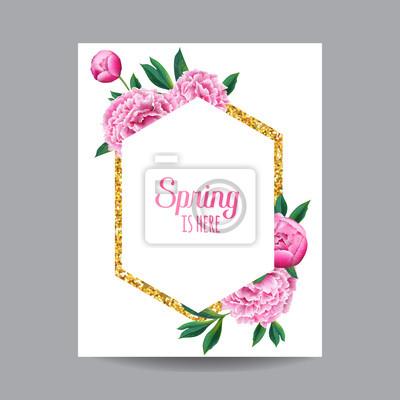 Fototapete Blühender Frühlings Und Sommer Blumenmuster Mit Goldenem Rahmen.  Aquarell Rosa Pfingstrose Blumen